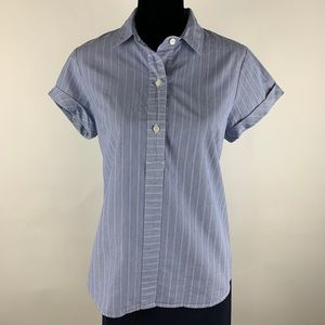 J.CREW Blue White Striped Top Button Down Blouse M